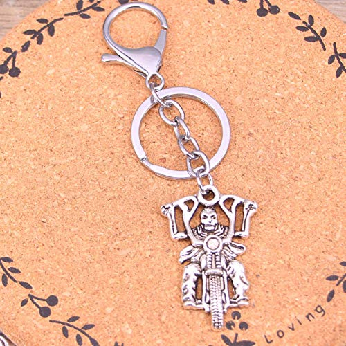 N/ A Mode Silber Farbe Legierung Metall Anhänger Todesritter Motorrad Schlüsselanhänger Schlüsselanhänger Geschenk Für Auto Schlüsselbund Zubehör