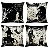 Halloween Throw Pillow Covers Set of 4,Black Scary Halloween Pillow Covers Outdoor Farmhouse Decor Pillowcases Cotton Linen Cushion Cover for Bedroom 18x18 Inch