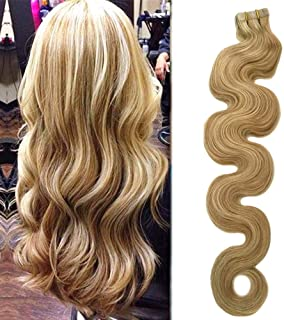 Valiilo Tape in Human Hair Extensions Body Wave Beige Blonde with Bleach Blonde 20pcs Set 40g Silky Body Wave Wavy Weft Human Remy Hair (18 inches, 18/613-bw)