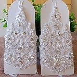 Loe Guantes de boda más vendidos novios Guantes de encaje blanco Rhinestone coreano Vendaje corto Guantes de boda Rojo Boda guantes de boda SummerBride Guantes sin dedos Los guantes de encaje infantil