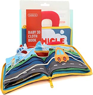 Felt Quiet Books - 9 kinds Vehicle Identify Skill Boys and Girls, Ultra Soft Baby book Touch and feel Cloth Book, 3D Books...