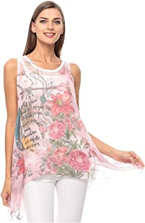 Made in Italy Pink Polyester Round Neck Asymmetrical Top For Women