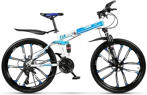 echa un vistazo a los más baratos AWAKMER 27 Pulgadas Bicicleta de Montaña Montaña Montaña Doblar Bicicleta con Velocidad 21 24 27 30 y Suspensión Freno de Disco Dual  orden en línea