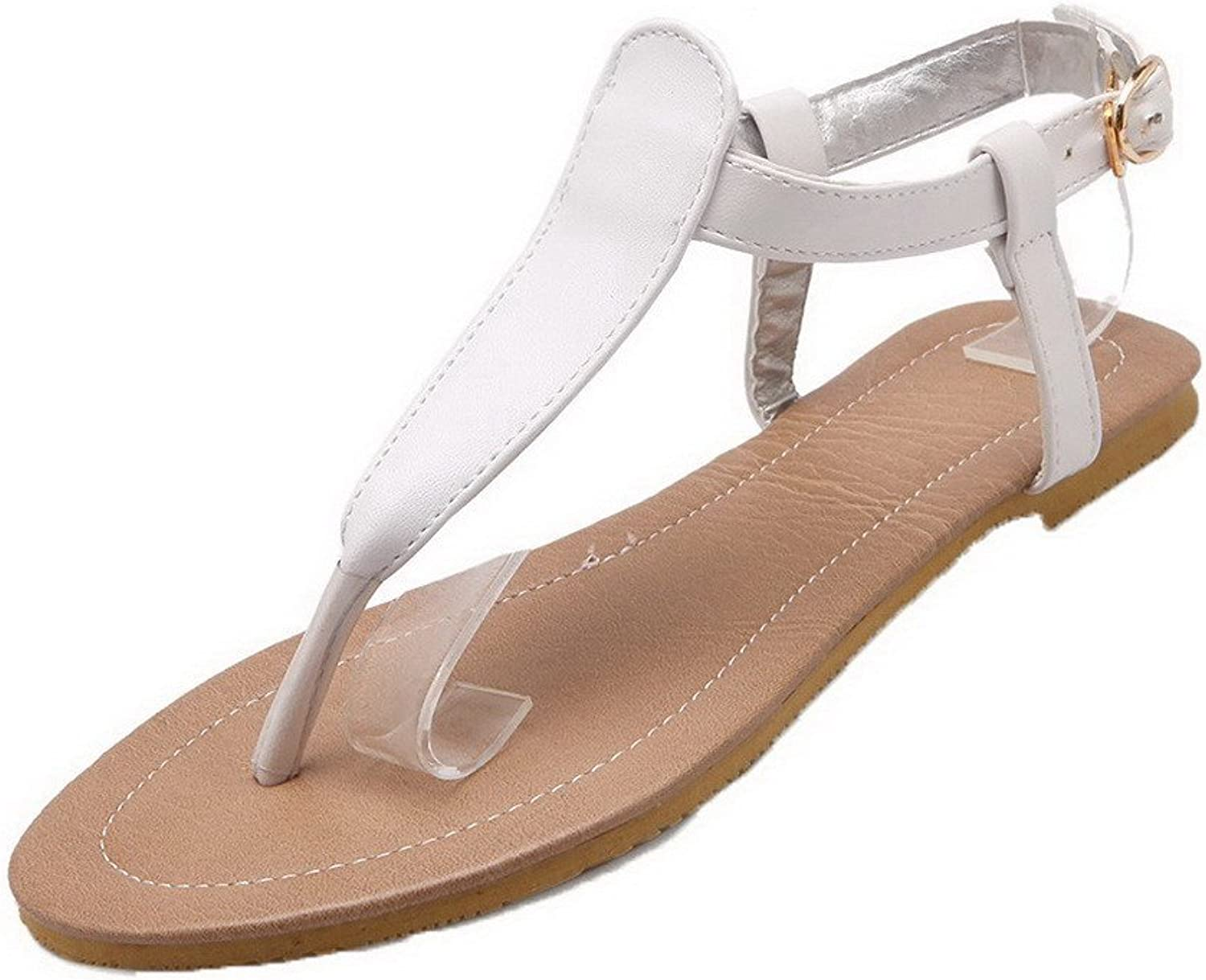 WeiPoot Women's Split Toe No-Heel Pu Solid Buckle Sandals