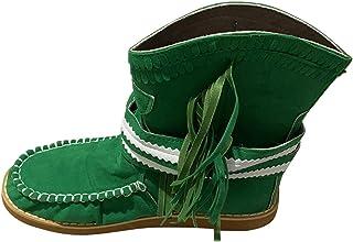 Stivali Donna Fashion Flat Fringe Vintage Round Toe Slip On Shoes