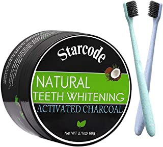 Activated Charcoal Teeth Whitening Teeth whitener of Natural Organic Coconut Shells Activated Charcoal Tooth Powder for Oral Health Proven Safe For Enamel (With Soft Wheat Straw Toothbrush)