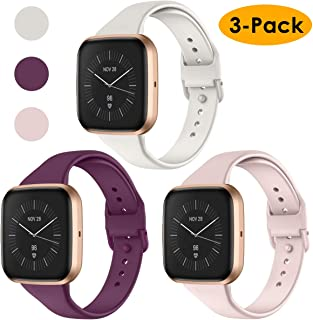 CAVN 3 Pcs Sport Bands Compatible with Fitbit Versa 2 / Versa/Versa Lite,  Bands for Women Men Silicone Narrow Watch Strap Replacement Waterproof Breathable Wristband Accessories