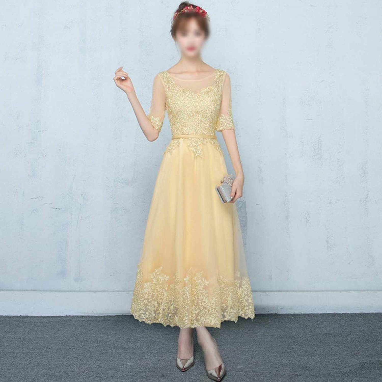 Sugoishop Womens Long Sleeves Slim golden Lace Embroidery Beads Evening Formal Dress (color   goldena, Size   XL)