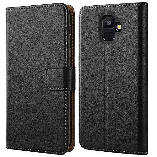 HOOMIL für Samsung A6 2018 Hülle, Samsung Galaxy A6 2018 Hülle, Premium Leder Tasche Flip Handyhülle für Samsung Galaxy A6 2018 Smartphone Hülle (Schwarz)