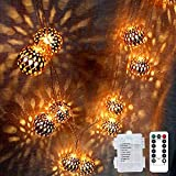 LOGUIDE Moroccan String Lights,Big Metal Globe String Lights with Remote Timer,Indoor Outdoor Battery Operated Fairy Lights for Wedding,Bedroom,Window,Garden,Patio Decorations,Rose Gold Ball 20 LEDs