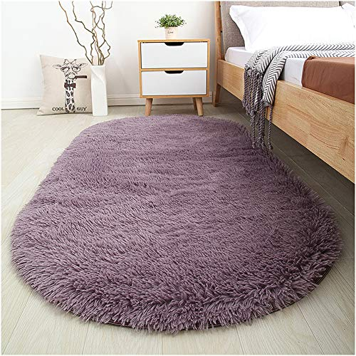 Softlife Fluffy Area Rugs for Bedroom 2.6' x 5.3' Oval Shaggy Floor Carpet Cute Rug for Girls Room Kids Room Living Room Home Decor, Grey Purple