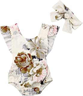 Newborn Baby Girls Romper Floral Sleeveless Bodysuit with Headband Outfits