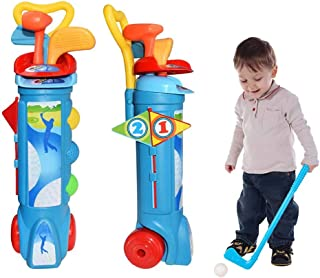 Kids Golf Clubs Set, Plastic Golf Toy with 1 Golf Cart, 3 Golf Clubs, 2 Practice Holes, 2 Golf Tees and 3 Balls, Outdoor I...