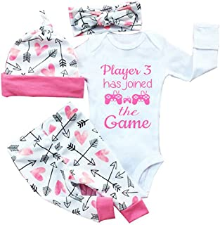 gllive Baby Girls' Clothes Long Sleeve Miracles Romper Outfit Pants Set +Hat+Headband 6-12 Months X-Pink Play
