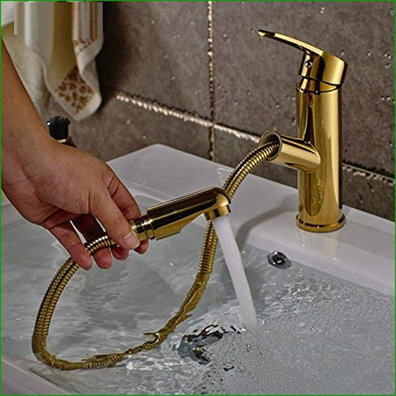 Honcx Copper Hot and Cold Kitchen Sink Taps Kitchen Faucet Antique Copper Chrome-Plated gold Bathroom Kitchen Basin Basin Hot and Cold Water Mixing Can Pull Single-Unit Faucet