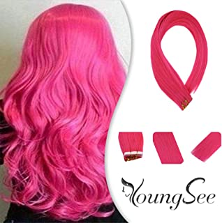 YoungSee 14inch Pink Hair Extensions Tape in Remy Human Hair Skin Weft 100% Real Hair Tape Hair Extensions 25g 10pcs
