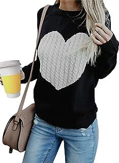 Tuopuda Maglione Donna Girocollo Maglioni Invernali Oversize Sweatshirt Manica Lunga Ragazza Pullover Logo del Cuore Caldo...