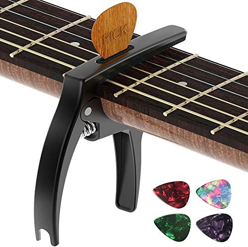 Guitar Capo,TANMUS 3in1 Zinc Metal Capo for Acoustic and Electric Guitars (with Pick Holder and 4Picks),Ukulele,Mando...