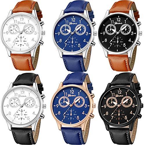 Yunanwa 6 Pack Men's Leather Quartz Watch Geneva Boys Casual Dress Wrist Band Watches Wholesale Lots Set (6pcs-635)