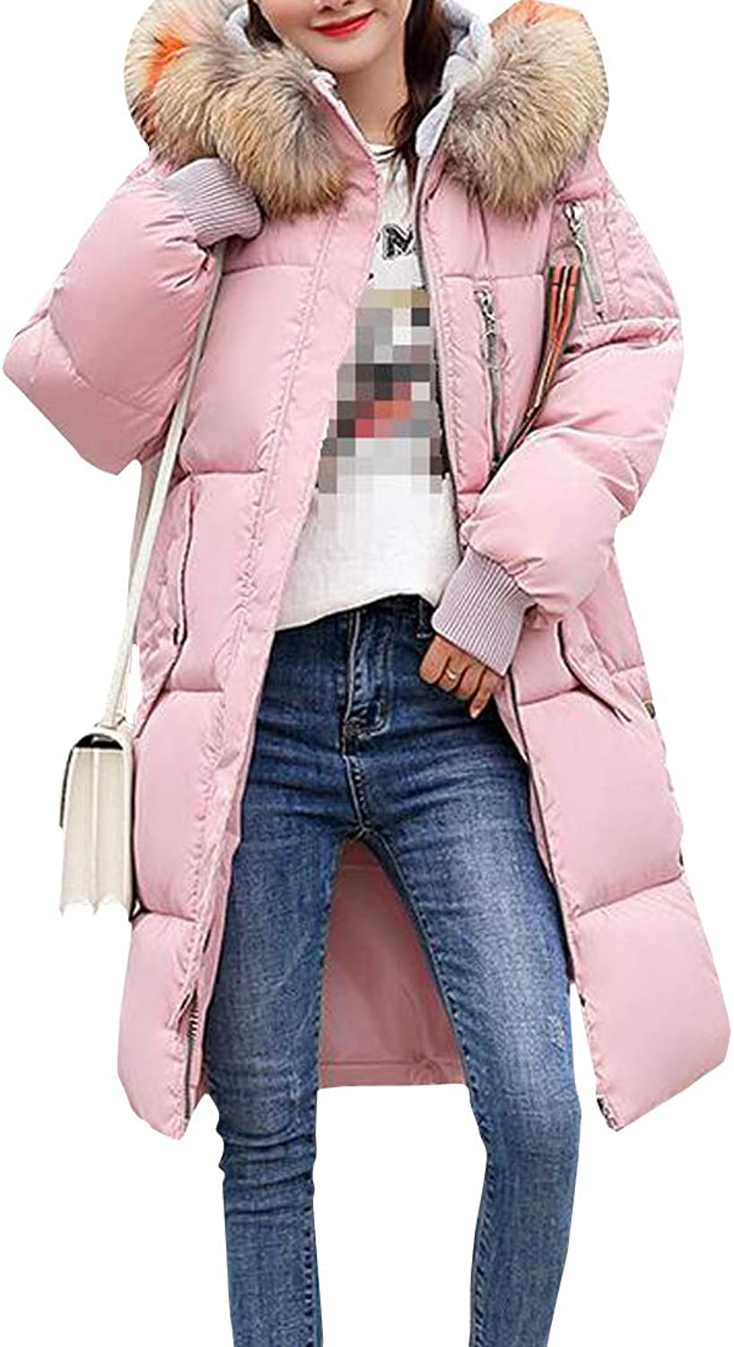 Sweatwater Womens Loose Puffer CottonPadded Faux Fur Hood MidLength Parkas Coat