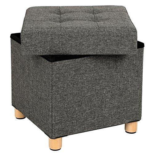 SONGMICS Sitzhocker, Faltbare Sitztruhe, gepolstert, mit Deckel, Füße aus Massivholz, platzsparend, bis 300 kg belastbar, für Wohnzimmer, Flur, Kinderzimmer, dunkelgrau LSF14GYZ