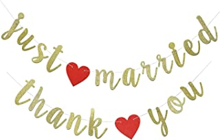 Just Married & Thank You Banner Gold Glitter Sign for Engagement, Bridal Shower, Wedding Reception Decorations Pre-Strung Cursive Bunting Wedding Photo Booth Props (Gold)