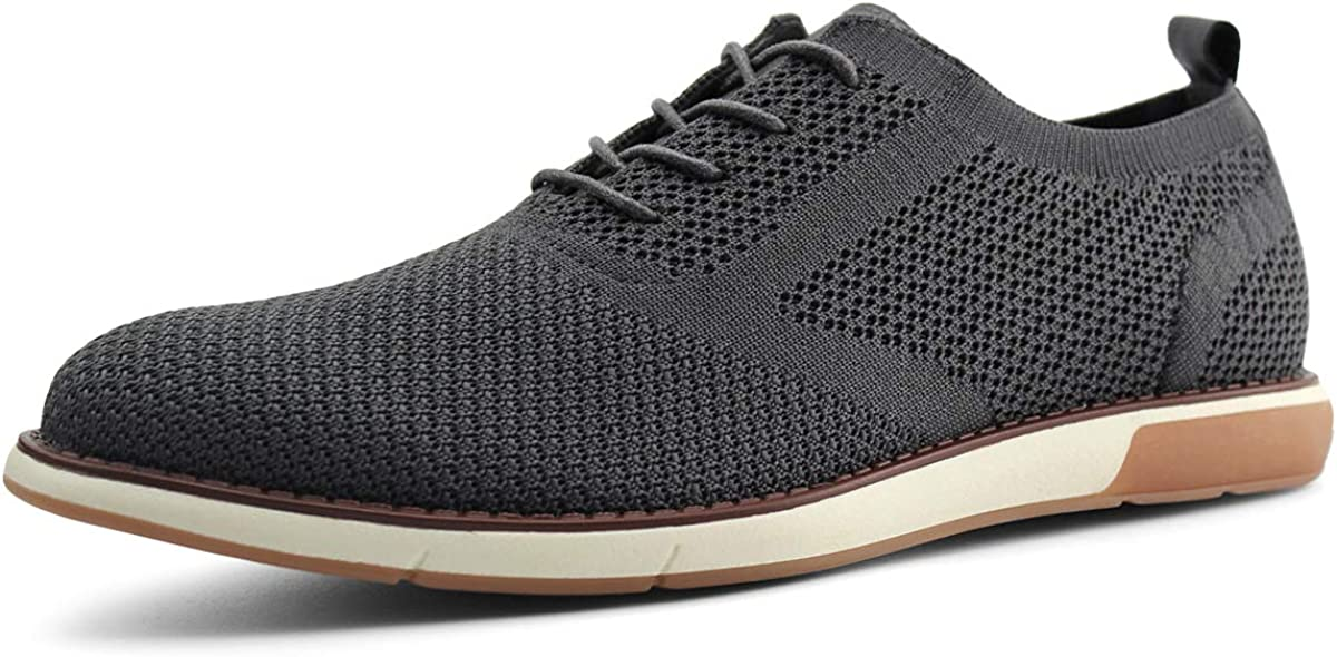 JABASIC Mens Knit Wingtip Oxford Breathable Walking Dress Shoes Lace Up Sneakers