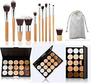 Pure Vie 15 Colors Cosmetics Cream Contour and Highlighting Makeup Kit, Color Correcting Cream Concealer Camouflage Makeup Palette + 11 Pcs Foundation Powder Concealer Eye Shadows Makeup Brushs