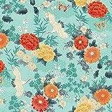 Quiltstoff Michiko, japanische Kraniche und Blumen, 100 %