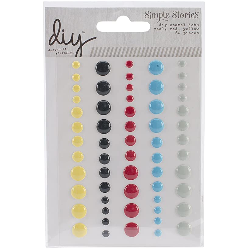 Simple Stories DIY Enamel Dots Embellishments, Teal/Red/Yellow, 60-Pack