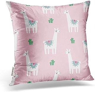 Leisure-Time Funda de Almohada Patrón Lindo Lama Cacti en Rosa Bebé Animal para niños Dibujo Infantil Fundas de Almohada cuadradas