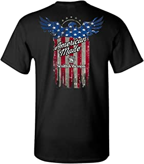 S&W Distressed American Made Flag Pocket Tee in Black - Officially Licensed