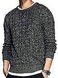 Pxmoda Herren Pullover Strickpullover mit Rundhals Basic Winter Pullover Regular Fit Pullover mit Zopfmuster Langarm Sweatshirt Sweater (PX-1293-P)
