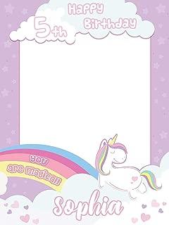 Rainbow Magic Unicorn Pony Birthday Photo Booth - Size 24x36, 48x24, 48x36; Personalized Pony Unicorn Confetti Theme Happy Birthday Photo Booth Wall Décor, Handmade Party Supply Frame Print