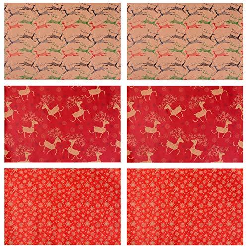 Toddmomy 6 Stück Geschenkpapier Weihnachtspapier Kraftpapier für Geburtstagsfeiertage Babyparty Hochzeit Wrap DIY Bastelbedarf