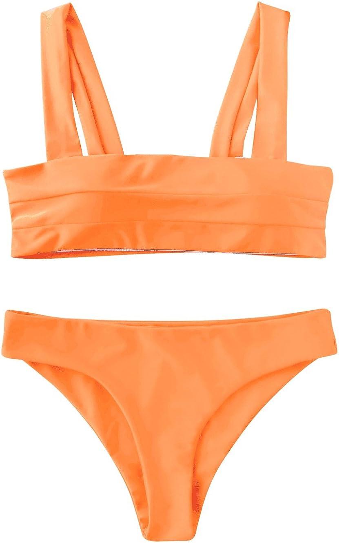 ZAFUL Women's Wide Straps Padded Bandeau Bikini Set
