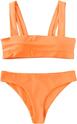 fa9dced53d ZAFUL Women s Wide Straps Padded Bandeau Bikini Set