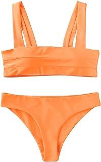 Women's Wide Straps Padded Bandeau Bikini Set
