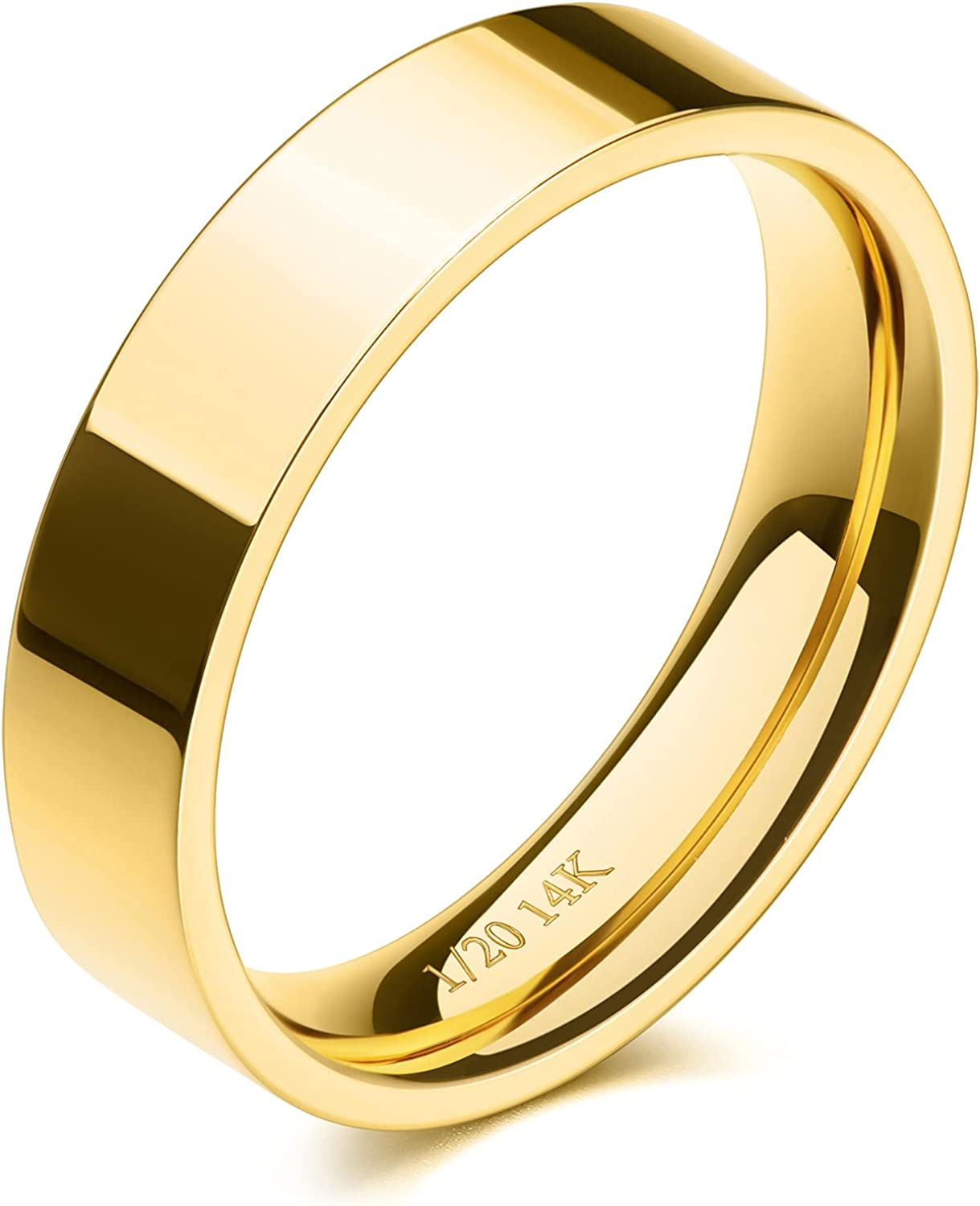 NOKMIT 5mm 14K Gold Filled Rings for Women Men Wedding Band Stacking Stackable Rings Pointer Finger Ring Plain Dome Comfort Fit Size 5 to 10