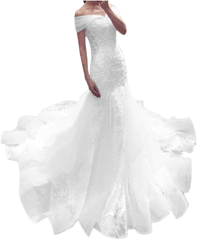 LL Bridal Off Shoulder Wedding Dresses 2021 Lace Mermaid Bridal Gown Sweep Train