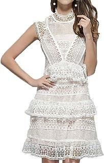 300b4c0ec7 Ladies Summer Casual Dresses Femmes Sans Manches Crochet Dentelle Robe  Élégante Formelle Soirée Cocktail Robe De