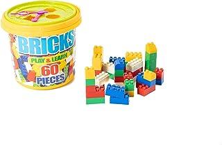 مكعبات تعليم التعلم الإبداعي البلاستيكية منشئ My First Builder, 60 قطعة من لعبة البلاستيك ABS المتوافقة مع مجموعة مكعبات ب...