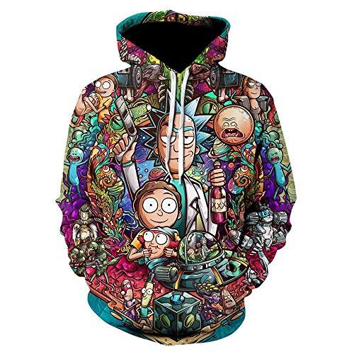 bayghk 2020 Sudaderas con Capucha 3D Dibujos Animados Rick and Morty Print Mujeres/Hombres Sudadera con Capucha Streetwear Sudaderas con Capucha Casuales Jersey Nasa-We-818_Size_L