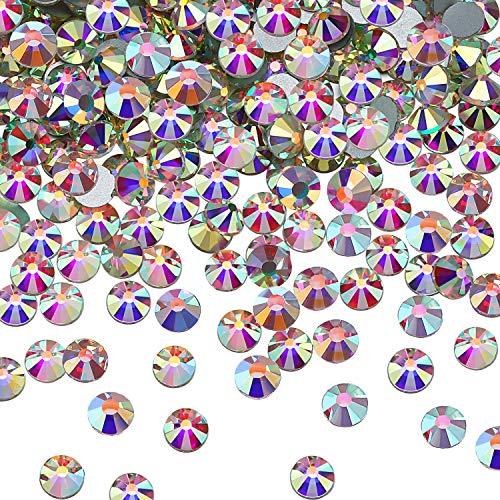 SS20 AB Crystal Diamond Rhinestones Flat Back Round Rhinestones Iridescent Crystals Round Beads Flat Back Glass (2880 Pieces)