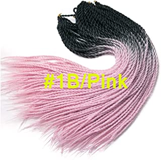 1B/Pink Color Two Tone Supper Durable Braids Cute Synthetic Hair Two Tone Ombre Color 3Packs 24Inches Senegalese Twist Crochet Hair 20Roots/Pcs Senegalese Braids Hairstyles (#1B/Pink)