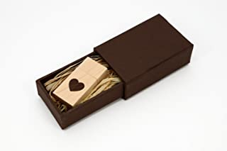 Maple Wood USB 2.0 16GB Flash Drive - Heart Veneer Love Design - With Matching Mastercraft Brown Paperbox