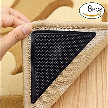 Rug Grippers, Carpet Rubber Anti-skid Pad with Strong Sticky Double Sided Carpet Tape By Yorwe (8, Black)