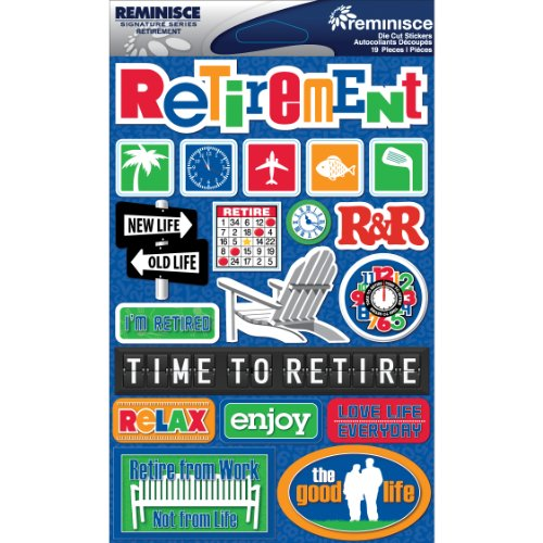 Reminisce 376093 Signature Dimensional Stickers, 4.5 by 6-Inch Sheet-Retirement