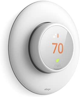 elago Wall Plate Cover for Nest Thermostat E [White] - [Complementary Rounded Design][Hard ABS Material][Easy Installation](E series only)