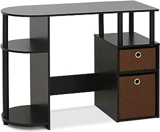 FURINNO Jaya Computer Study Desk with Bin, Brown